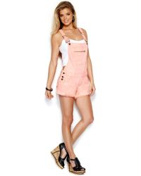Guess - Frayed Short Overalls Acid Wash - Lyst