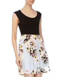 Dex Floral-Print Cap-Sleeve Dress - Lyst