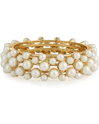 R.j. Graziano - Golden Pearly Bangle Bracelet Set - Lyst