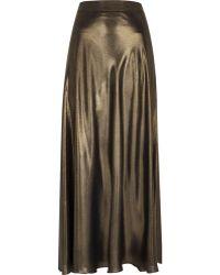 River Island Gold Metallic Maxi Skirt - Lyst