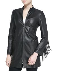 Dawn Levy Long Leather Coat W/ Fringe Trim - Lyst