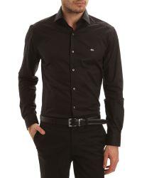 Lacoste Longsleeved Shirt Slim Fit Black Cotton Poplin - Lyst
