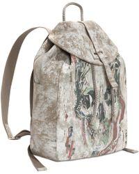 Alexander McQueen Printed Suede Skull Canvas Back-Pack multicolor - Lyst