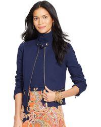 Lauren by Ralph Lauren Full Zip Peplum Jacket - Lyst