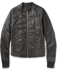 Rick Owens Leather Bomber Jacket - Lyst