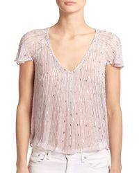 Parker Anthony Embellished Silk Top - Lyst
