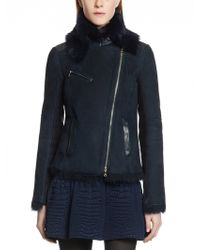 Patrizia Pepe Short Sheepskin Coat Combined with Leather and Quilted Cashmerewool Inserts - Lyst