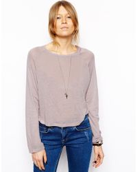 Asos Raglan Slouch Top in Linen Mix - Lyst