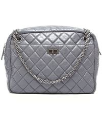 Chanel Preowned Grey Aged Calfskin Reissue Jumbo Shoulder Bag - Lyst