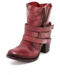 Freebird By Steven Bama Wrap Strap Booties  Red - Lyst