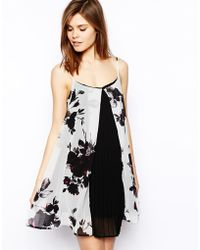 Asos Floral Pleat Swing Dress - Lyst