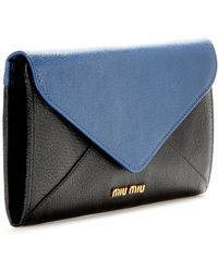 Miu Miu Blue Leather Wallet - Lyst