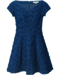 Michael Kors Bouclé Flared Dress - Lyst