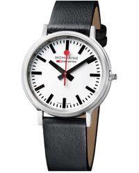 Mondaine - 'stop 2 Go' Leather Strap Watch - Lyst