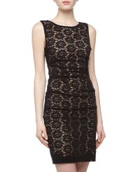 Nicole Miller Daisy Lace Cocktail Dress Blacknude - Lyst