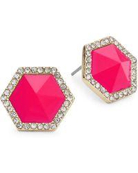 ABS By Allen Schwartz Octagon Pink Stud Earrings