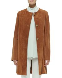 The Row Mid-Length Suede Jacket - Lyst