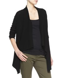 Vince Ribbed Cashmere Draped Open Cardigan - Lyst