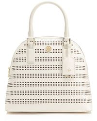 Tory Burch Robinson Perforated Open Dome Satchel - Lyst