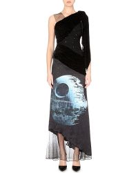 Rodarte Death Star Draped Satin And Velvet Gown - Lyst