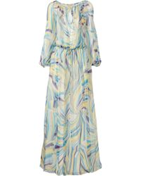 Emilio Pucci Printed Silk-Chiffon Maxi Dress - Lyst