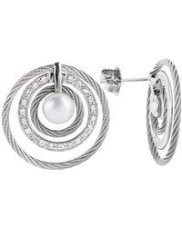 Charriol Women'S Classique 18K White Gold And Stainless Steel Diamond Earrings - Lyst