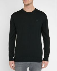 G-Star RAW | Black Bandalo Chest Logo Round-neck Sweater | Lyst