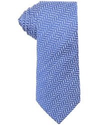 Armani Blue And White Herringbone Print Linen Tie - Lyst