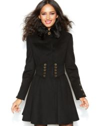 Betsey Johnson Wool-blend Faux-fur Corset Flared Coat - Lyst