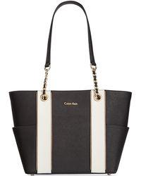Calvin Klein   Contrast Trim Saffiano Leather Tote   Lyst