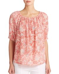 Tory Burch Ruched Floral Top orange - Lyst