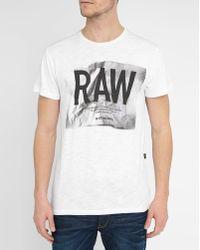 G-Star RAW | White Raw Lenk 3 Print Round-neck T-shirt | Lyst