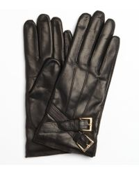 Portolano Black Leather Cross Buckle Nappa Gloves - Lyst