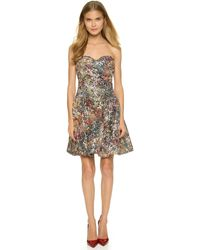Notte by Marchesa Strapless Multicolored Sequined Dress - Forest multicolor - Lyst