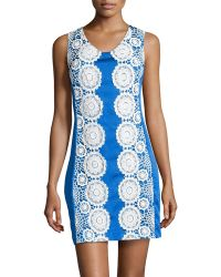Muse Floral Lacetrimmed Doupioni Dress - Lyst