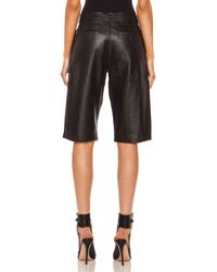 Nicholas Tailored Leather Knee Length Leather Short - Lyst