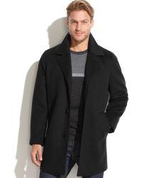 Calvin Klein Black Wool-cashmere-blend Overcoat - Lyst