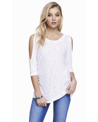 Express Slub Knit Cold Shoulder Sweater - Lyst