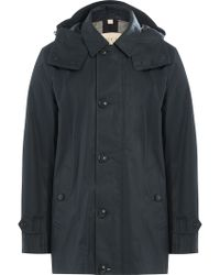 Burberry Brit | Trench Coat With Hood - Blue | Lyst