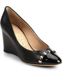 Ferragamo Nana Leather & Patent Cap-Toe Wedges - Lyst