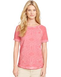 Lauren by Ralph Lauren Embroidered French Terry T-Shirt - Lyst