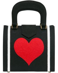 Olympia Le-Tan Heart Embroidered Cotton Top Handle Bag - Lyst