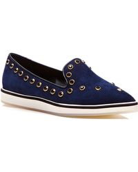 Nicholas Kirkwood Navy Suede with Stone Micro Sole Loafer - Lyst