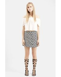 Topshop Jacquard-Print A-Line Skirt - Lyst