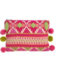 Asos Aztec Clutch Bag with Pom Poms - Lyst