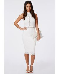 Missguided Jay Lace Panel Midi Dress White - Lyst