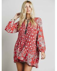 Free People Womens Lucky Loosey Shapeless Dress - Lyst