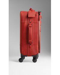 Burberry | London Leather Fourwheel Suitcase | Lyst