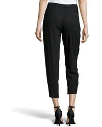 Halston Pleated Cropped Woolknit Trousers - Lyst