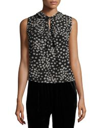 Rebecca Taylor | Sleeveless Floral Chiffon Top | Lyst